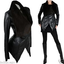 CLASSY LEATHER JACKET BLAZER JACKET FUR COLLAR BLACK SIZE US 4 6 8 40 42