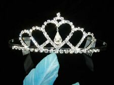SALE Bridesmaid Prom Crystal Heart Silver / Gold Plated Tiara Flower Party T064