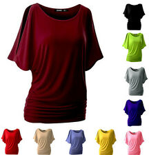 Blouse  Sexy Women Round Neck  Loose T-shirt Bat Sleeve New Short Sleeve Top