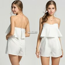 Sexy Women Off Shoulder Sleeveless Ruffles Short Pocket Jumpsuit Playsuit EA9