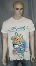 Ed Hardy T-Shirt King Skull Audigier crown Off White *RARE*