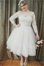 2016 Plus Size Short Wedding Dress Knee Length Long Sleeves Bridal Gown
