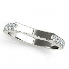 0.35 Carat G-H Diamond Half Circle Design Wedding Bridal Band 14K White Gold