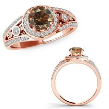 1.25 Ct Champagne Diamond Fancy Channel Halo Anniversary Ring Band 14K Rose Gold