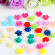 10PCS Vintage Flatbacks Cabochon Rose Flower Resin Lucite Cameo 10MM EV