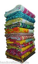 Indian handmade reversible cotton vintage kantha quilt throw bedspread blanket