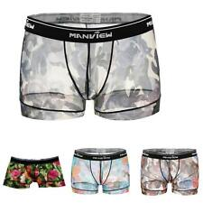 Attractive Men's Sexy Voile Sheer Flower Underwear Boxer Briefs Shorts Panties