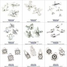 Antique Silver Jewelry Making Charms Airplane Aircraft Aladdin Genie Alarm Clock