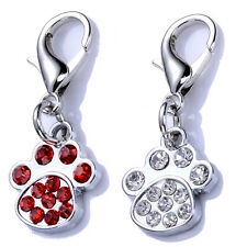 Fashion Rhinestone Dog Tag Necklace Jewelry Pendant Cute Paw Shaped Collar Charm