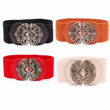 Hot Women Vintage Metal Flower Elastic Stretch Buckle Wide Waist Belt Waistbands