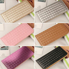 Women Lady Leather Clutch Wallet Weave Long Card Holder Case Purse Handbag Bag