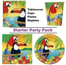 Tropical Island Luau 8-48 Guest Starter Party Pack - Cups Plates Napkins