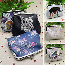 Fashion Owl Flower Wallet Small Card Holder Coin Purse Retro Clutch Handbag Bags