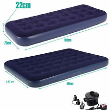 INFLATABLE AIR BED AIRBED MATTRESS FLOCKED SINGLE DOUBLE CAMPING BED IN/OUTDOOR