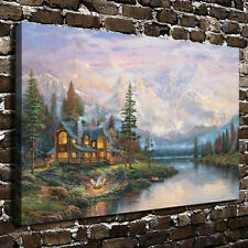 Art Scenery Painting Cathedral Mountain Lodge HD Print on Canvas Modern Deco