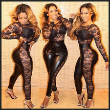 Women Sexy Long Sleeve Floral Lace Jumpsuit Bodycon Slim Clubwear Party Romper
