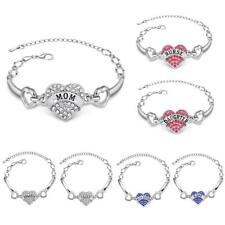 Shiny Bling Love Heart Pendant Link Chain Bracelet Bangle Jewelry Present