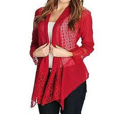 New One World Fine Gauge Knit Long Sleeved Lace Trim Tie-Back Cardigan