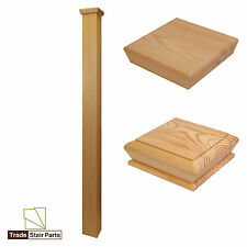 Plain Square Solid Pine Stair Newel Post