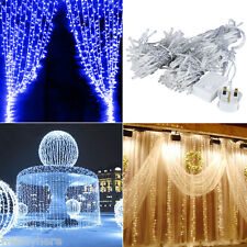 3x3M 300 LED Curtain String Fairy Lights In/Outdoor Party Wedding Xmas Christmas