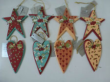 Gisela Graham Wooden and Tin Printed Star Christmas Dec (4 asst)