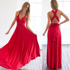 Women's Sexy V Neck Bandage Slim Bodycon Evening Party Cocktail Gown Long Dress