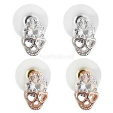 Silver Gold Retro Punk Crystal Rhinestone Skull Stud Earrings Jewellery Gift