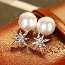 Fashion Silver Plating Faux Pearl Earring Crystal Rhinstones Star Stud Earrings