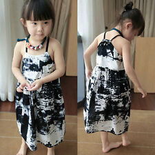 New Baby Girls Abstract Cotton Dress Casual Sleeveless Toddler Children Dress