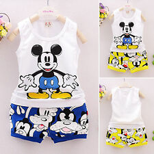 2PCS Mickey Boys Kids Baby Sleeveless T-shirt Vest Tops + Pants Outfits Clothes