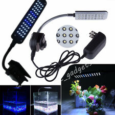Aquarium Fish Tank LED Clip Over Head Mood Light Lamp Flexible Arm White/Blue UK