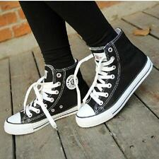 New womens fashion lace up canvas high top korean casual sneakers shoes sz 144T