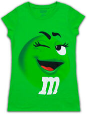 Juniors Womens M&M's Chocolate Candy Silly Character Face Green T-Shirt Tee