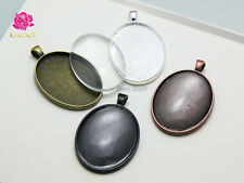 40x30mm Oval Charm Pendant Cameo Cabochon Setting Blank Tray + Glass Domed 5set
