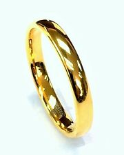 AMZ 18K Yellow Gold Plated 4MM Tungsten Carbide Domed Center Wedding Band Ring