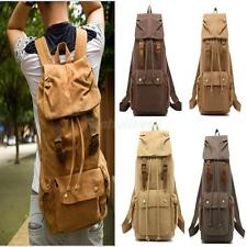 Vintage Military Canvas Leather Travel Black Backpack Hiking Rucksack School Bag