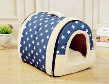 Medium Small Dog Bed House Cat Puppie Pet Nest W/Mat Foldable Washable Removable