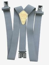 "1 1/2"" & 2"" Gray Suspenders - Perry style clips"