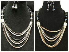 Fashion Black,Gray ,Silver,Gold Tone Multi Strand Layer  Necklace Earrings Set