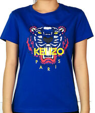 Authentic NWT Kenzo Women's  Electrical Blue Tiger Head wt Yellow Kenzo Word