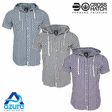 Mens Crosshatch Check Shirt Hooded Toggle Short Sleeve T Shirt Top Sizes S-XL