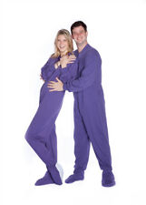 Big Feet Pjs Purple Jersey Knit Adult Footed Pajamas with Onesie Butt Flap