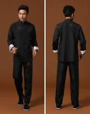 Traditional Black Chinese Men's Silk Kung fu Suit Pajamas SZ: M L XL 2XL 3XL