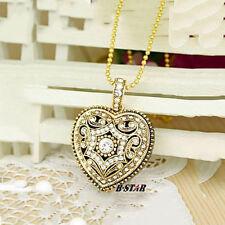 Retro Crystal Heart Pendant 8GB 16GB USB Flash Drive Memory Stick Metal Pendrive