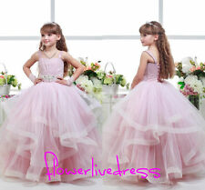 Pink Girls Pageant Dance Prom Party Ball Gown Wedding Flower Girl Dress Age 2-14