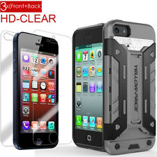 F iPhone 5 5S 5C SE Armor Hybrid(TPU&PC) Wallet Case,3x (Front+ back) Protectors