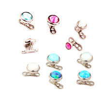 Titanium Gem Dermal Anchor + Top Screw Stud Internally Threaded Piercing Jewelry