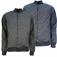 Mens Designer Padded Bomber Jacket Quilt Design Plain Contrast Colour Sleeves