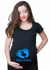 Baby Feet Blue Boy Pregnancy Maternity Funny Tee shirt gift for pregnant Woman