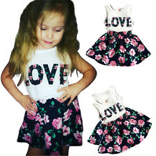 Kid Baby Girl Sleeveless Tank Top Floral Skirt Party Short Dress 2Pcs Outfit Set